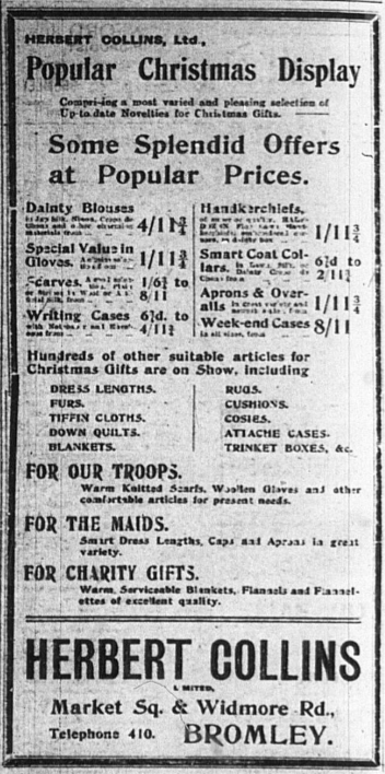 Christmas Advert published in the Bromley & District Times newspaper in 1917