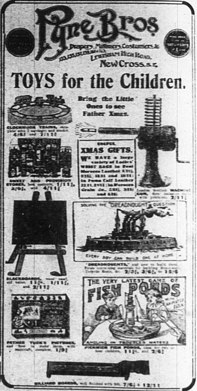 Christmas Advert from Pyne Bros as advertised in the Bromley & District Times in 1917