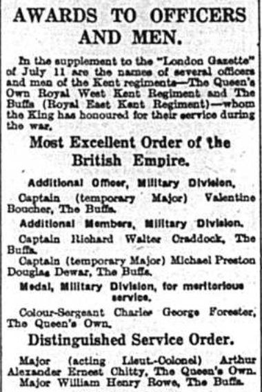 Medal Winners - OBE -, dated 9th July 1940