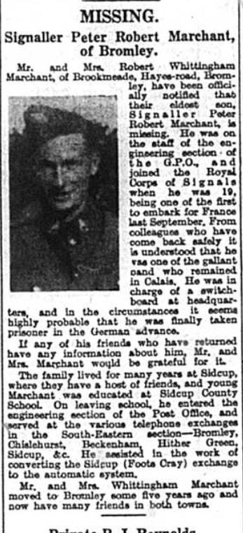 Signaller Peter Robert Marchant - 1940