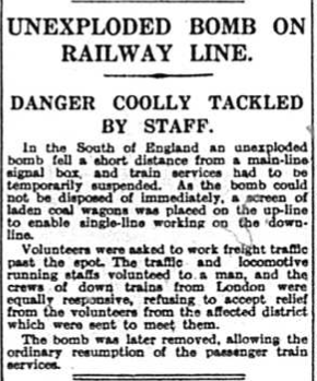 Unexploded Bomb on Railway - September 1940