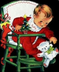 Christmas Card design from the 1940s, of a baby in a high chair dropping his whit bear