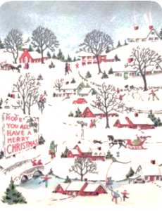 Christmas card design from the 1940s