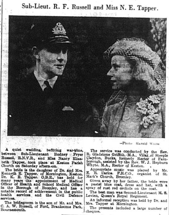 wedding article for Sub-Lieutenant Rodney Fryer Russell and Nancy