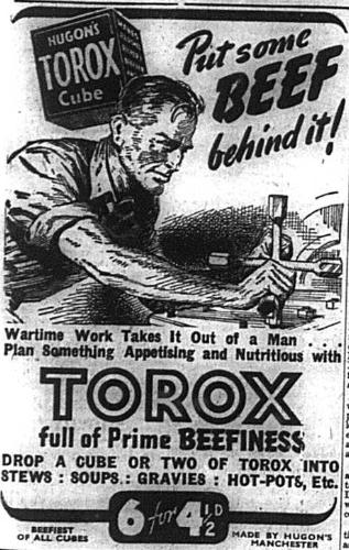 Advert for Hugon;s Torox beef extract cubes