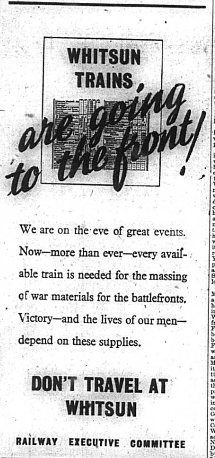 Advert advising against travelling on Whitsun during world war two