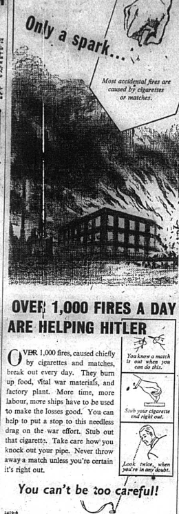Propaganda article regarding fires during world war two