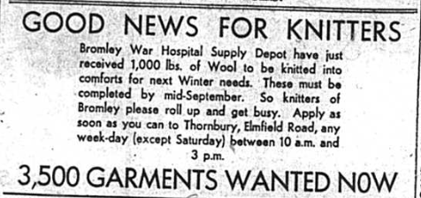 Bromley War Hospital Supply depot receives 1,000lbs off wool for knitters during World War two
