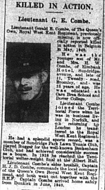 Lieutenant Gerald E. Combe, of The Queen's Own, Royal West Kent Regiment, missing in action in Belgium