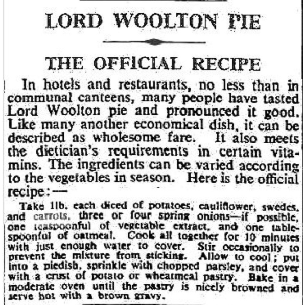 Official recipe of Lord Woolton Pie