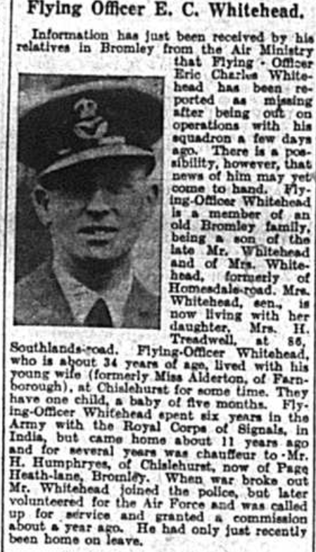 Flying Officer Eric Charles Whitehead, missing in world war two1941