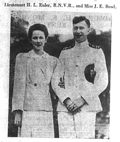 Wedding of Henry Leonard Euler and Miss Jane Bowl in 1941
