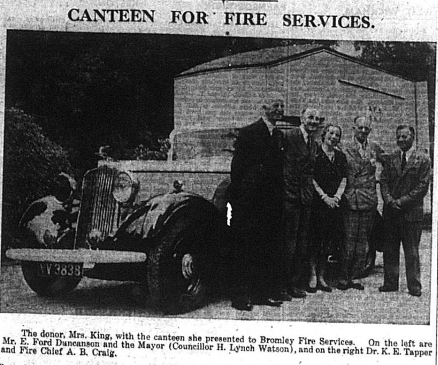Truck used as a canteen for the Fire Service in World War two