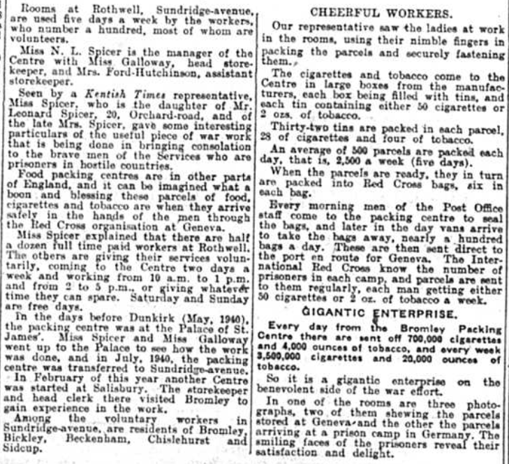 Article about the ladies who packed Cigarettes for Prisoners of War in September 1941