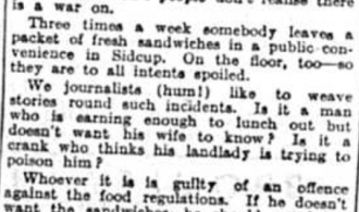 Complaints about Food Waste, 1941
