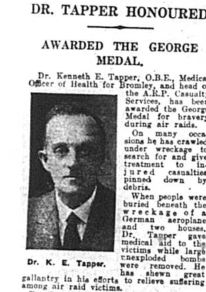Dr Kenneth Tapper who was honoured with the George Medal in 1941
