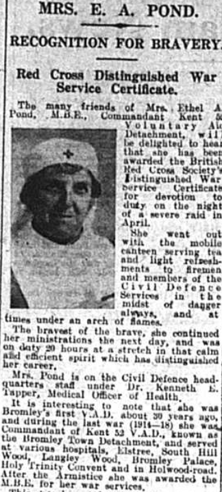 Extract featuring Mrs Ethel Pond as featured in the Bromley Times - 26th September 1941