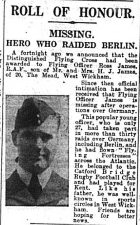 Article extract featuring Missing Flying Officer Ross James as reported in the Bromley Times on 12th September 1941