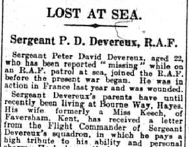 Newspaper extract featuring Sergeant Peter David Devereux who went missing at sea, published in the Bromley Times on 12th September 1941