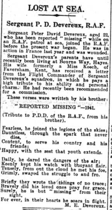 Article regarding Sergeant Peter David Devereux who was lost at sea. Published in the Bromley Times on 12th Sept 1941