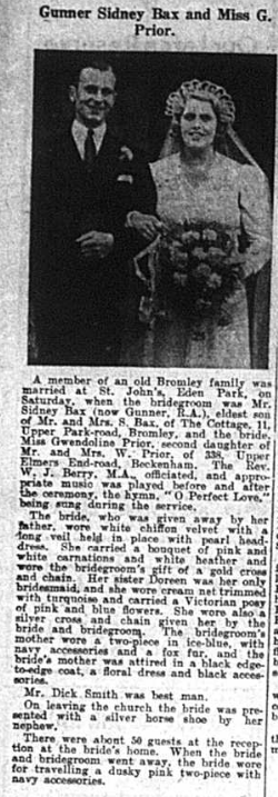 Wedding of Gunner Sydney Bax and Miss Gwendeline Prior (Bromley Times - 12th Sept 1941 - page 6)