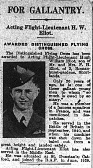 Flight Lieutenant Hugh William Eliot as published in the Bromley & District Times on 3rd October 1941