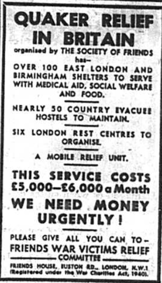 Advert for Quaker Relief in Britain published in the BRomley & District Times in September 1941