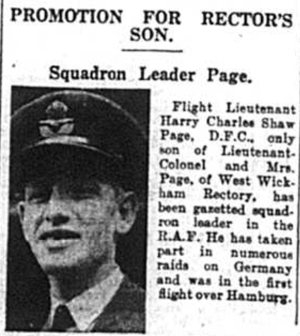 Promotion for rectors son Squadron leader Harry Charles Page of West Wickham as published in the Bromley & District Times newspaper in September 1941