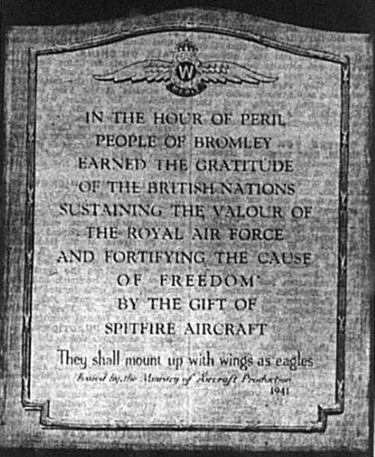 Photo of a stone tablet acknowledging the people of Bromley during World War Two published in the Bromley & District Times newspaper