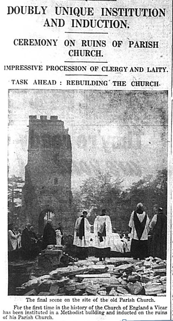 Ceremony takes place on the ruins of Bromley's Parish Church, 1941