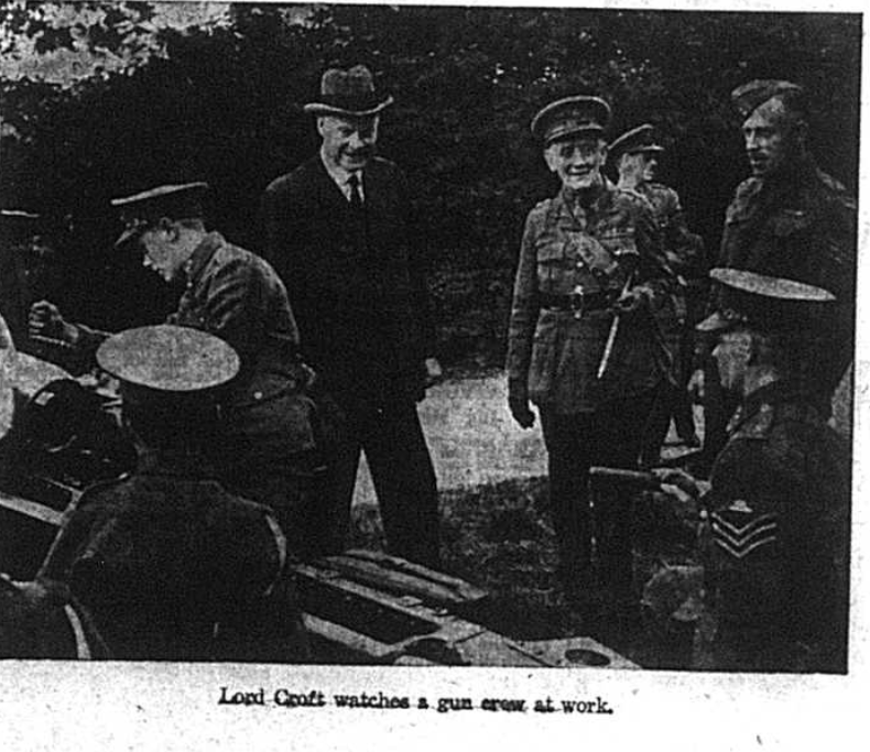 Lord Croft watches a gun crew at work in Bromley in October 1941
