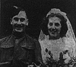 Wedding photo of Robert Leo Rockall and Elsie Williams, published in the Bromley & District Times in October 1941
