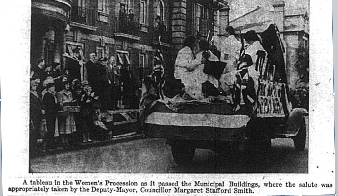 Women on the back of army vehicles in a procession through Bromley in 1941