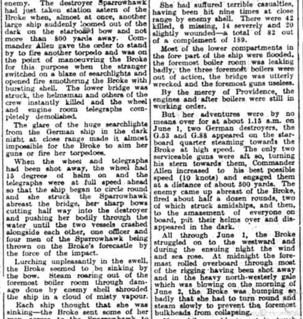 History of a famous war ship, Brooke, published in the Bromley & District Times, January 1942