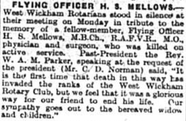 Flying Officer H S Mellows published in the bromley & District newspapers on 28th November 1941