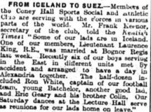 From Iceland to Suez - article in the Bromley Times published on the 28h November 1941