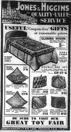Higgins & Jones advert for beds and useful gifts, published in the Bromley & District