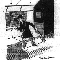 Cartoon of a London commuter sitting on train looking out of the window