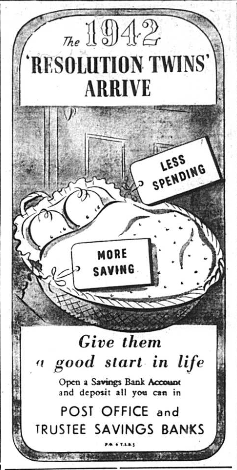Advert showing two babies in a cot with the labels Less Spending and More Saving attached to them