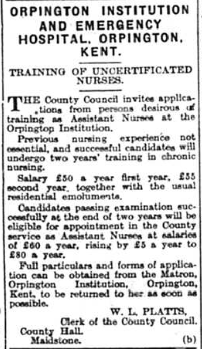 Letter published in the Nurses published in the Bromley Times on 16th January 1942 regarding the training of uncertificated nurses