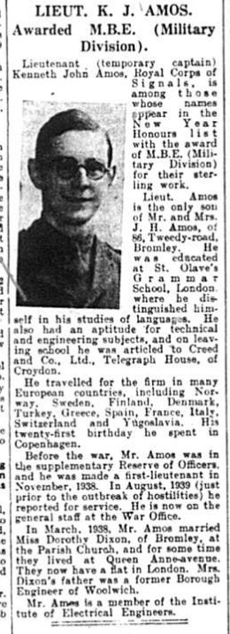 Newspaper Article about Lieutenant Kenneth John Amos who received an MBE in 1942