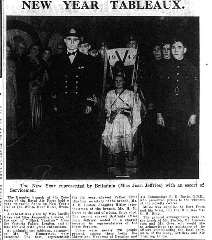 Article about the New Year Tableaux in Bromley with Miss Joan Jeffries dressed at Britannia surrounded by servicemen