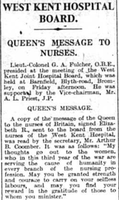 Queen Elizabeth message to nurses during world war two as printed in the Bromley and District Times newspaper in 1942