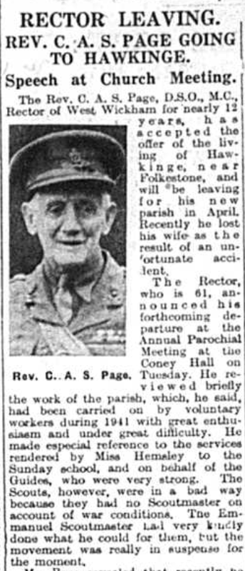 Article about the rector of West Wickham Rev. Charles Page