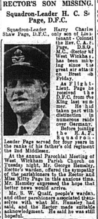 newspaper article about Squadron Leader Henry Charles Page reported as missing