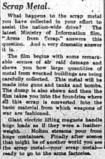 Article about what happened to the scrap metal collected during world war two for the war effort