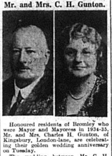 Article about the Wedding Anniversary of former Mayor and Mayoress Charles Gunton in February 1942