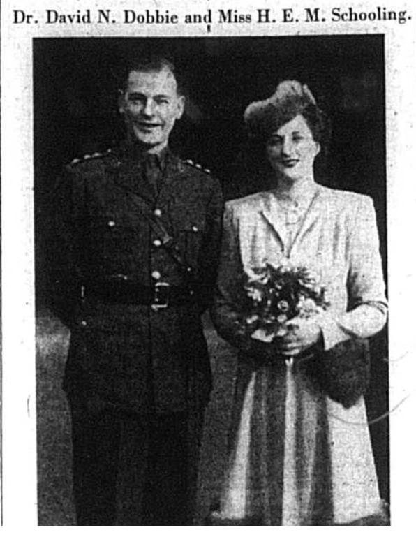 Wedding portrait of David Dobbie and Miss HEM Schooling in 1942