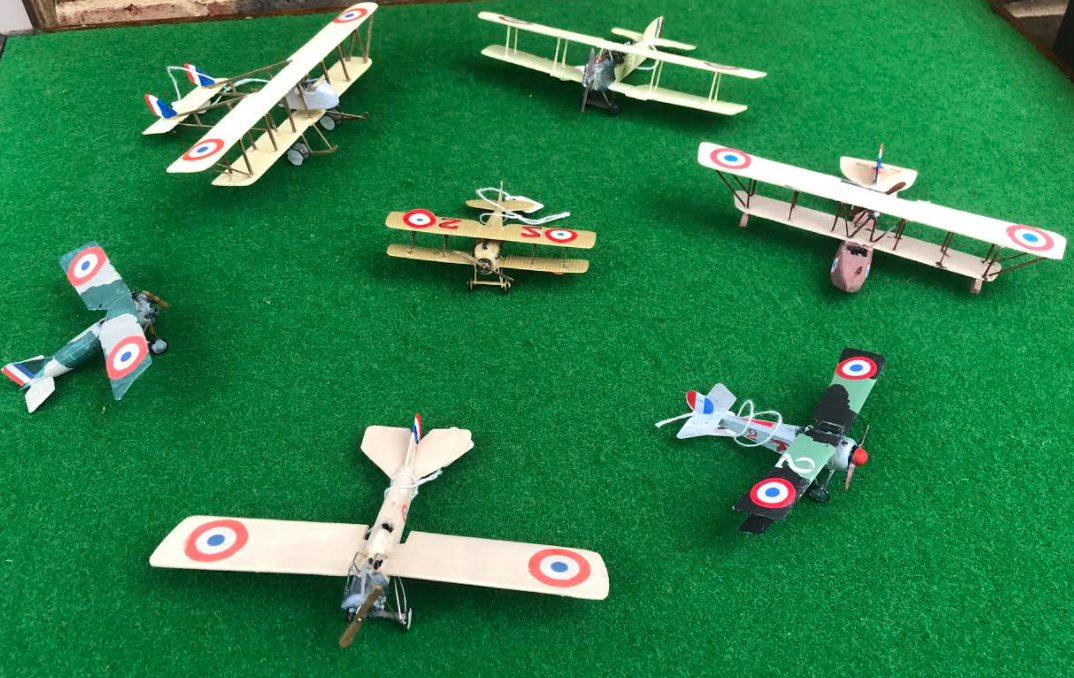 Selection of World War On French scale model aircraft