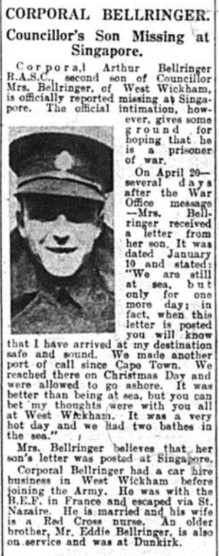 Article - Corporal Arthur Bellringer missing in action during world war two